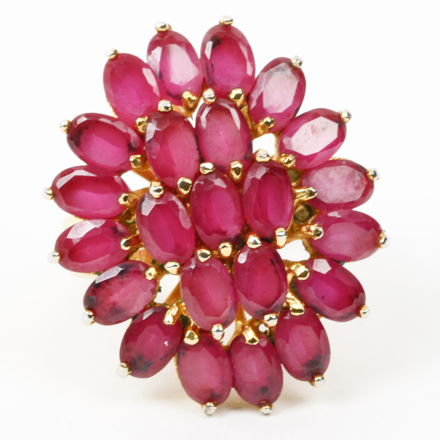 18K Yellow Gold and 9.20 CTW Ruby Flower Ring