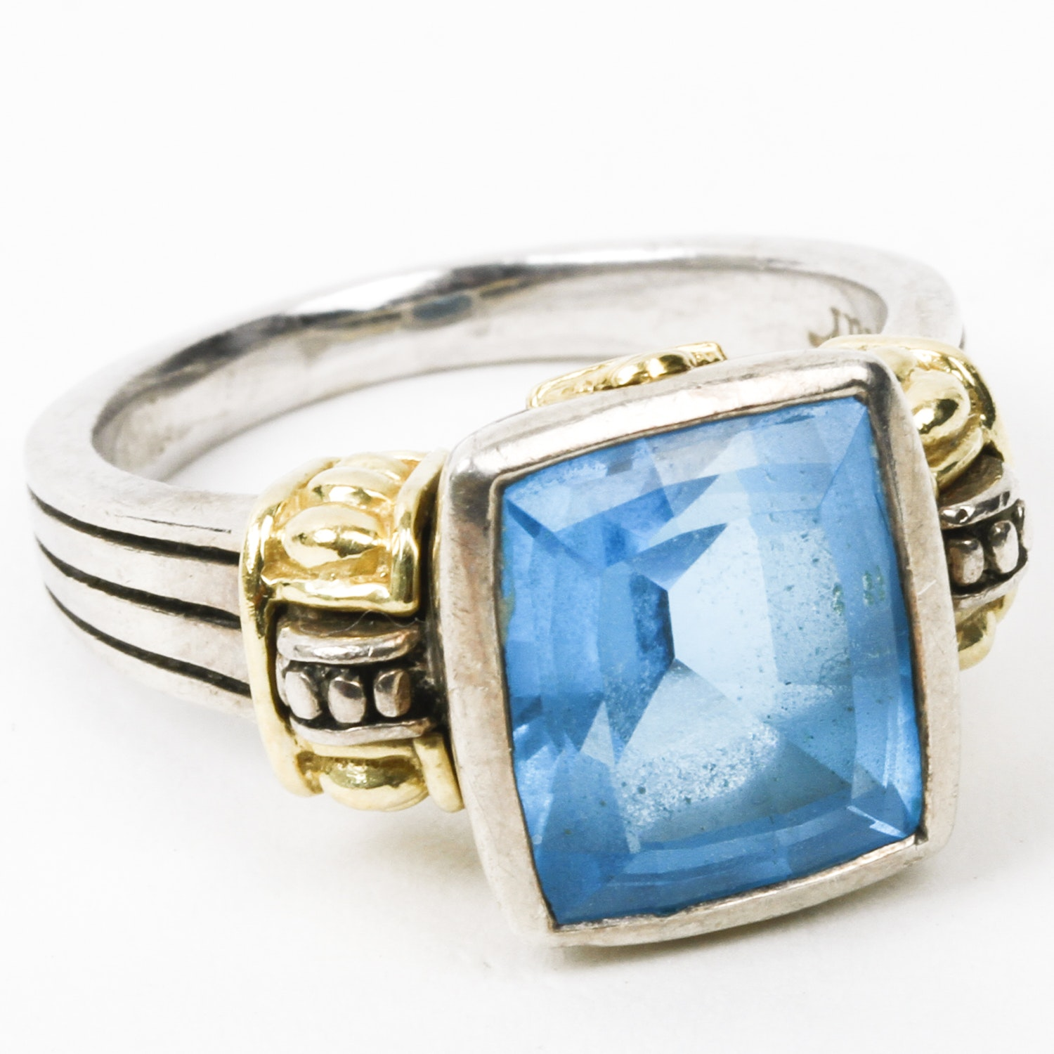 Lagos Signature Caviar Sterling Silver, 18K Yellow Gold, and 7.00 CTS Blue Topaz Ring