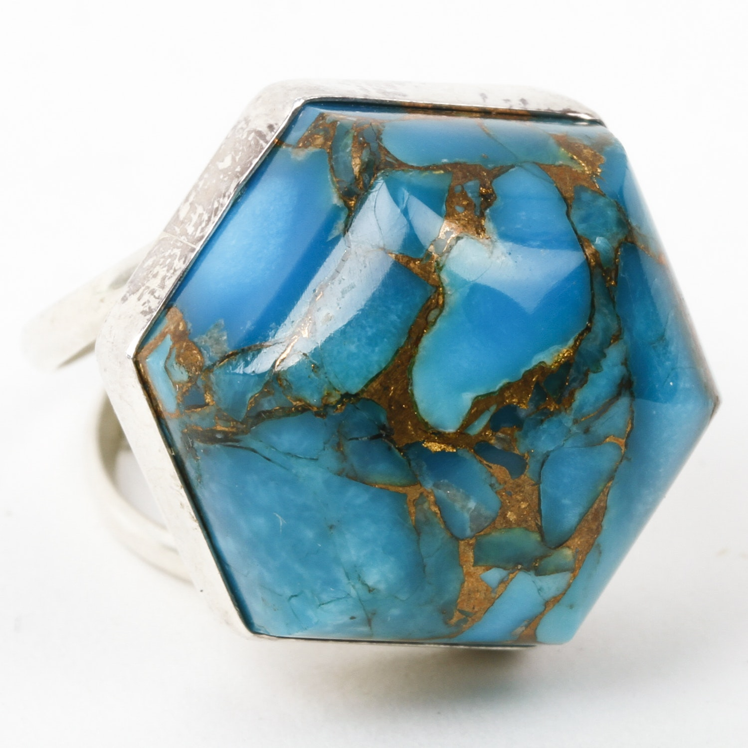 Desert Rose Trading Sterling Silver and Hexagonal Turquoise Statement Ring