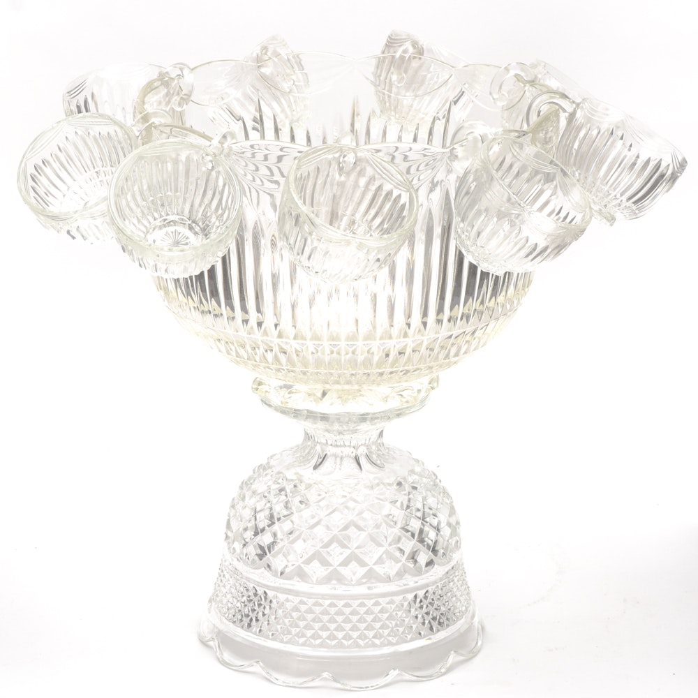 Vintage Pressed Glass Punch Bowl With Stand