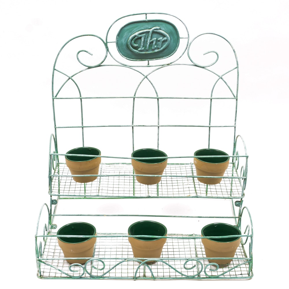 Planting Rack and Six Small Pots