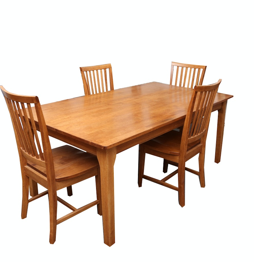 Arts and crafts style oak dining table with four chairs ebth for Arts and crafts style table