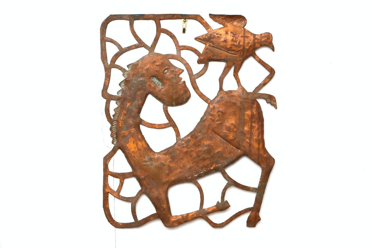 Gabriel Bien-Aime Copper Folk Art Wall Sculpture