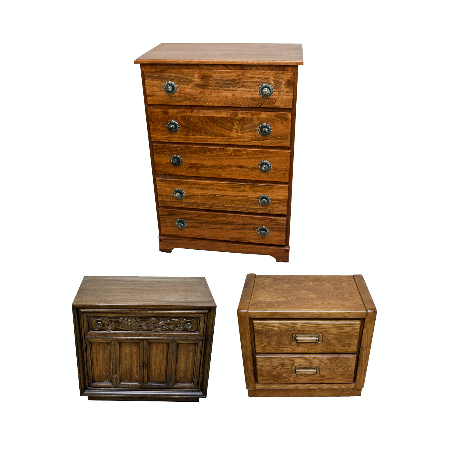 Two Nightstands and Chest of Drawers