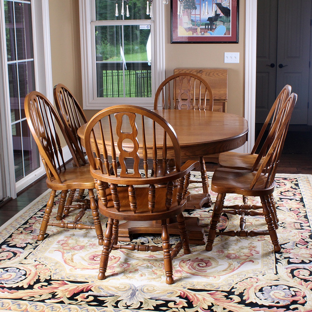 Superior Oak Dining Table And Six Windsor Style Chairs By Keller ...