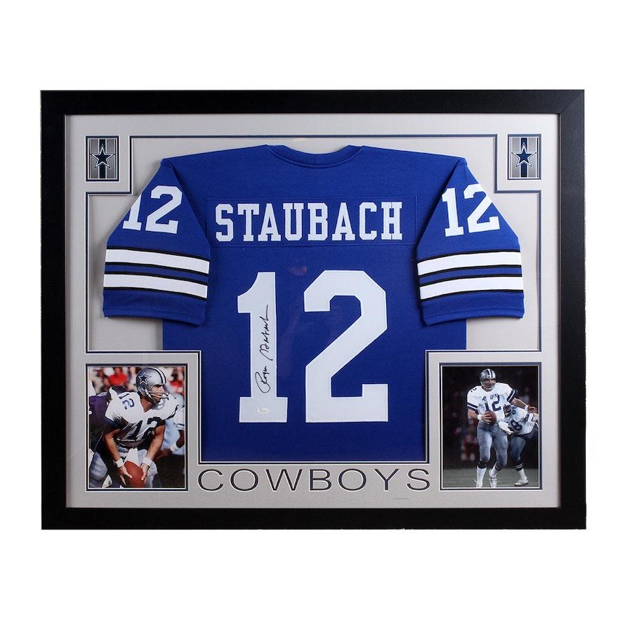 big sale 8410e 75b83 Framed Autographed Dallas Cowboys Roger Staubach Jersey