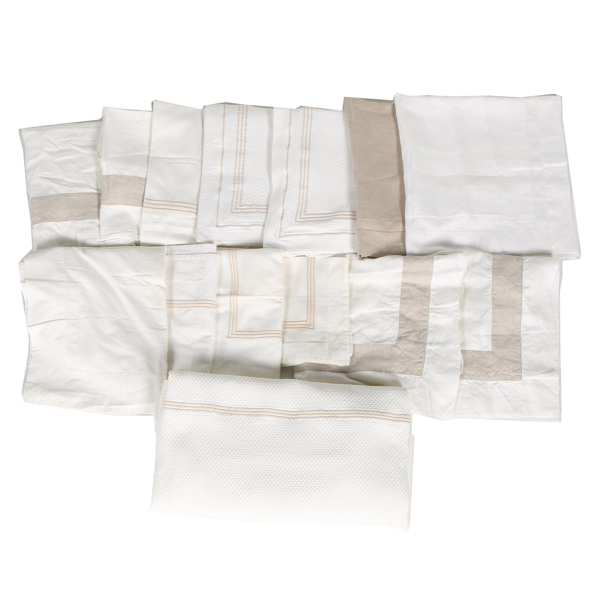 Assortment of Italian Frette Luxury Linens in White and Khaki