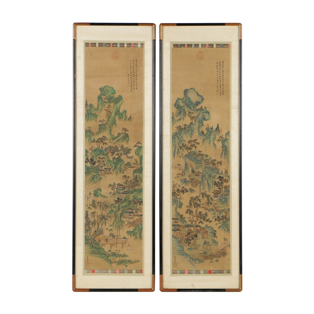 Pair of  Chinese Shan Shui Watercolor Paintings on Silk