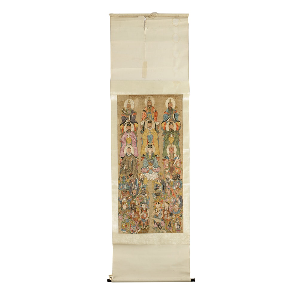 Chinese Watercolor Scroll Painting of Immortals and Deities
