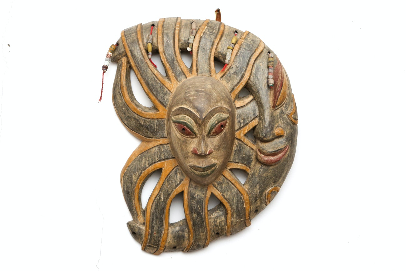 Hand Carved Wooden Sun And Moon Wall Sculpture With Beaded Details