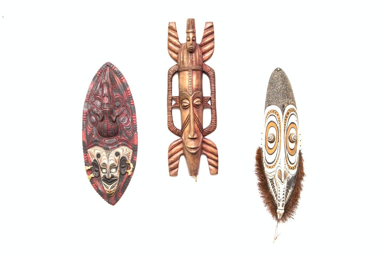 Grouping Of Large Hand Carved Tribal Masks