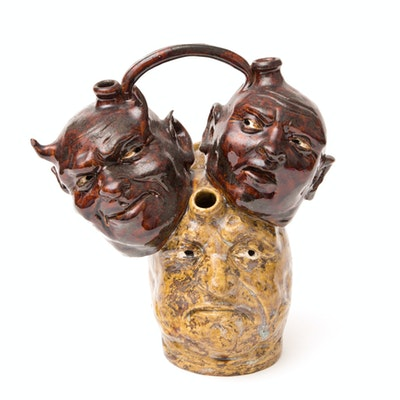 Hand Crafted Stoneware Devil's Head Jug With Three Faces By JC Mahlke - The Yankee Potter