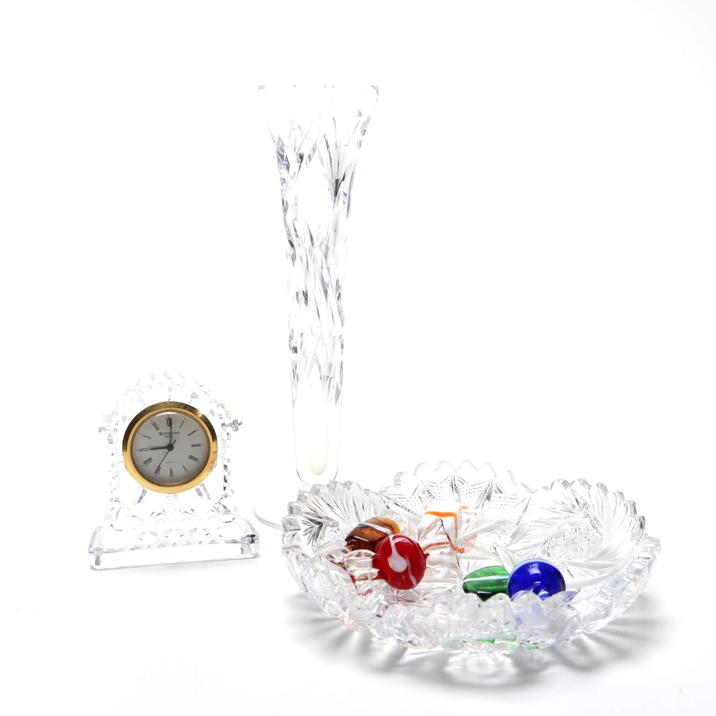 Waterford Clock, Crystal Candy Dish With Candy and Vase