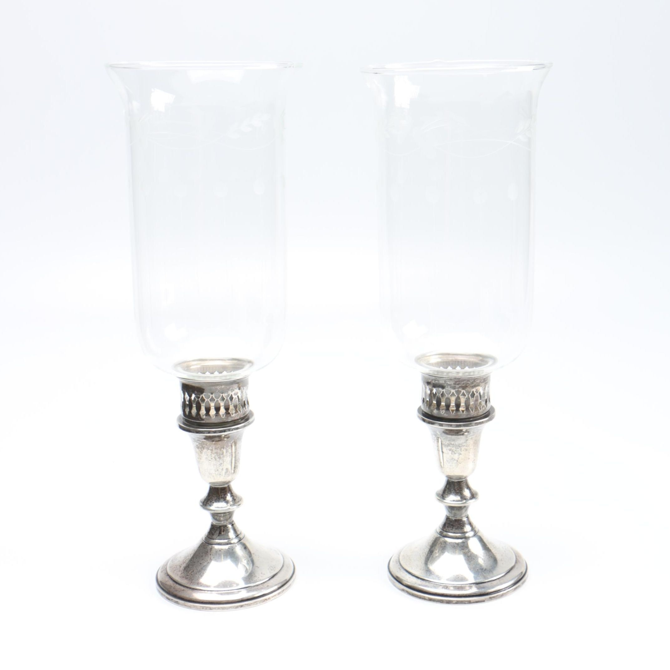 Towle Silversmiths Sterling Hurricane Candlesticks
