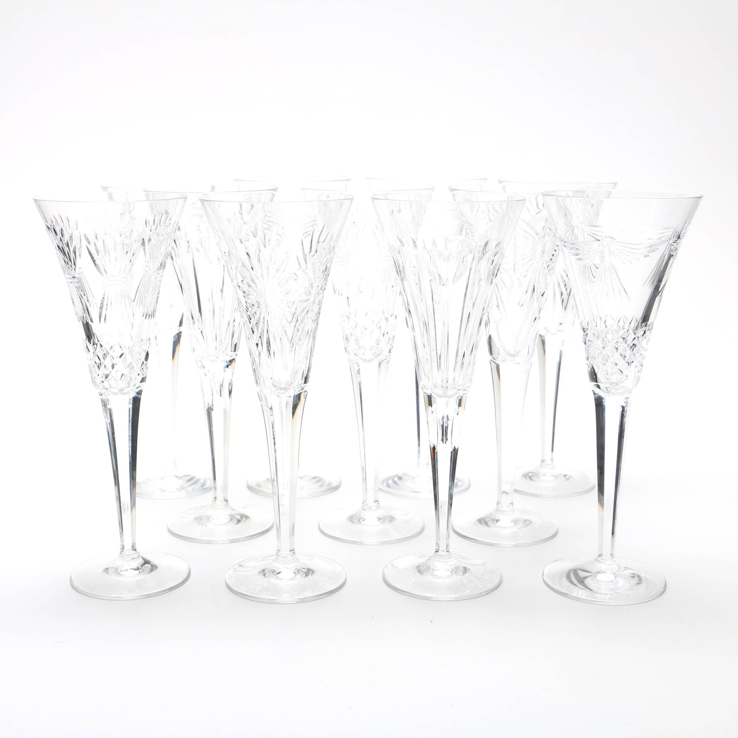 Set of Waterford Crystal Champagne Flutes