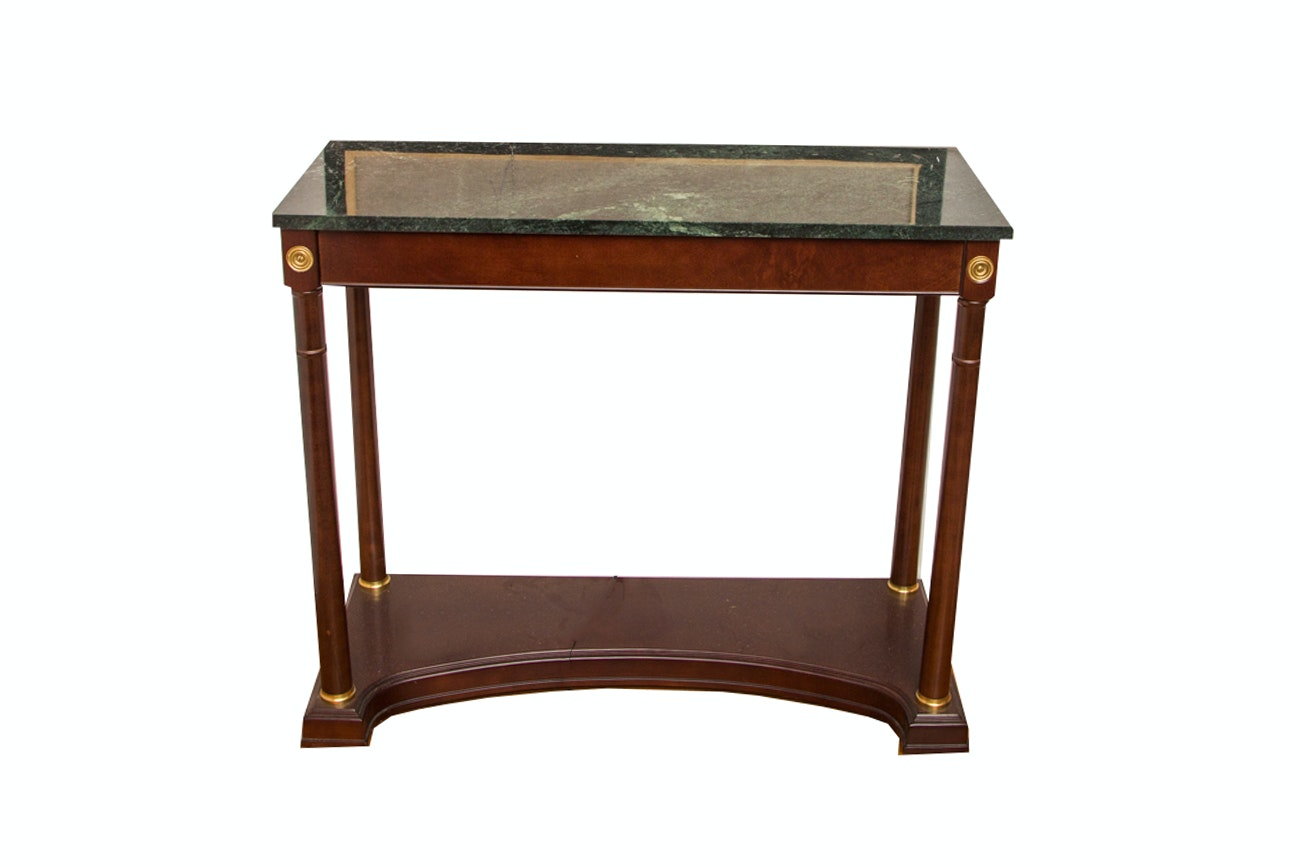 Federal Style Cherry Console Table With Green Marble Top