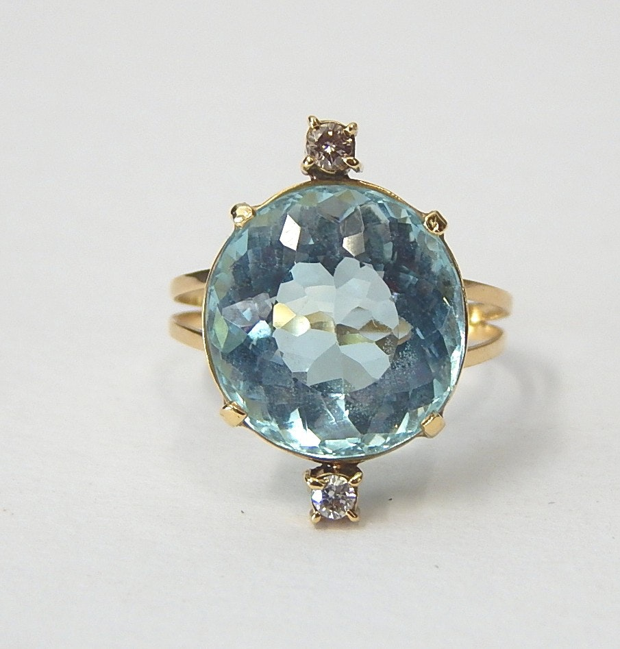 14K Yellow Gold and 10.06 CTS Aquamarine and Diamond Ring