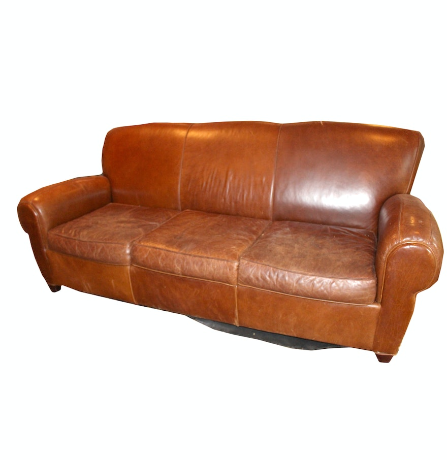 Leather Sofa By Mitchell Gold For Pottery Barn Ebth