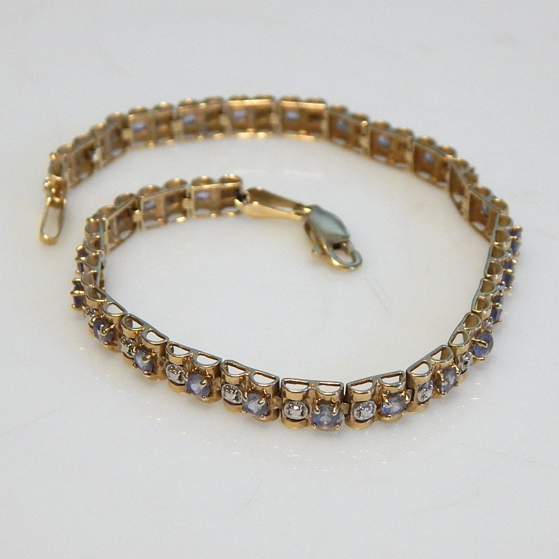 14K Yellow Gold and Tanzanite Tennis Bracelet