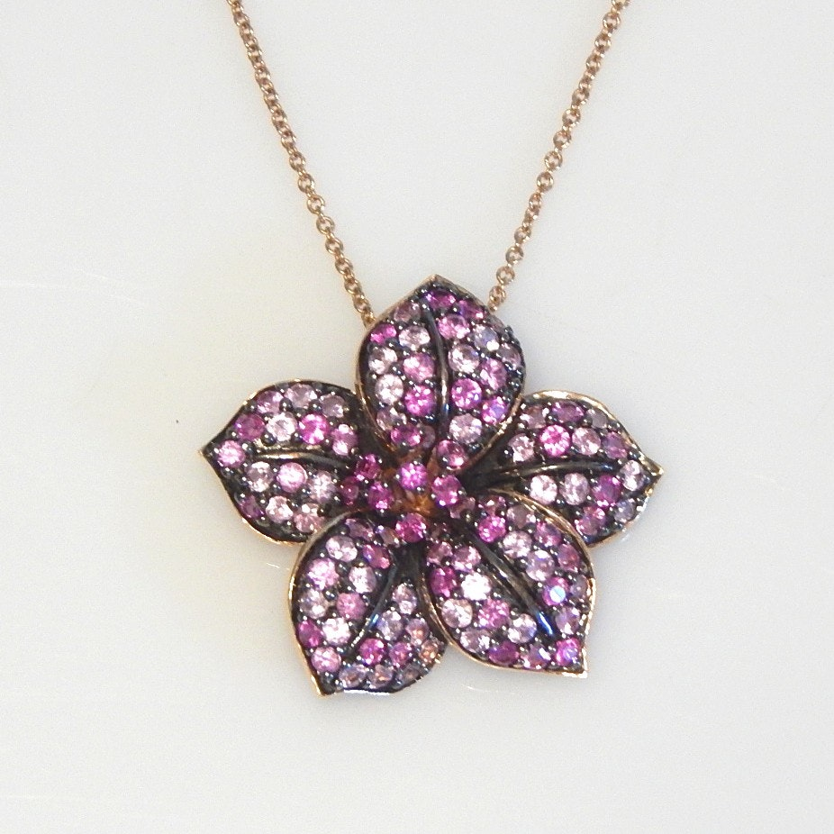 14K Rose Gold Floral Le Vian Pink Sapphire Pendant and Chain