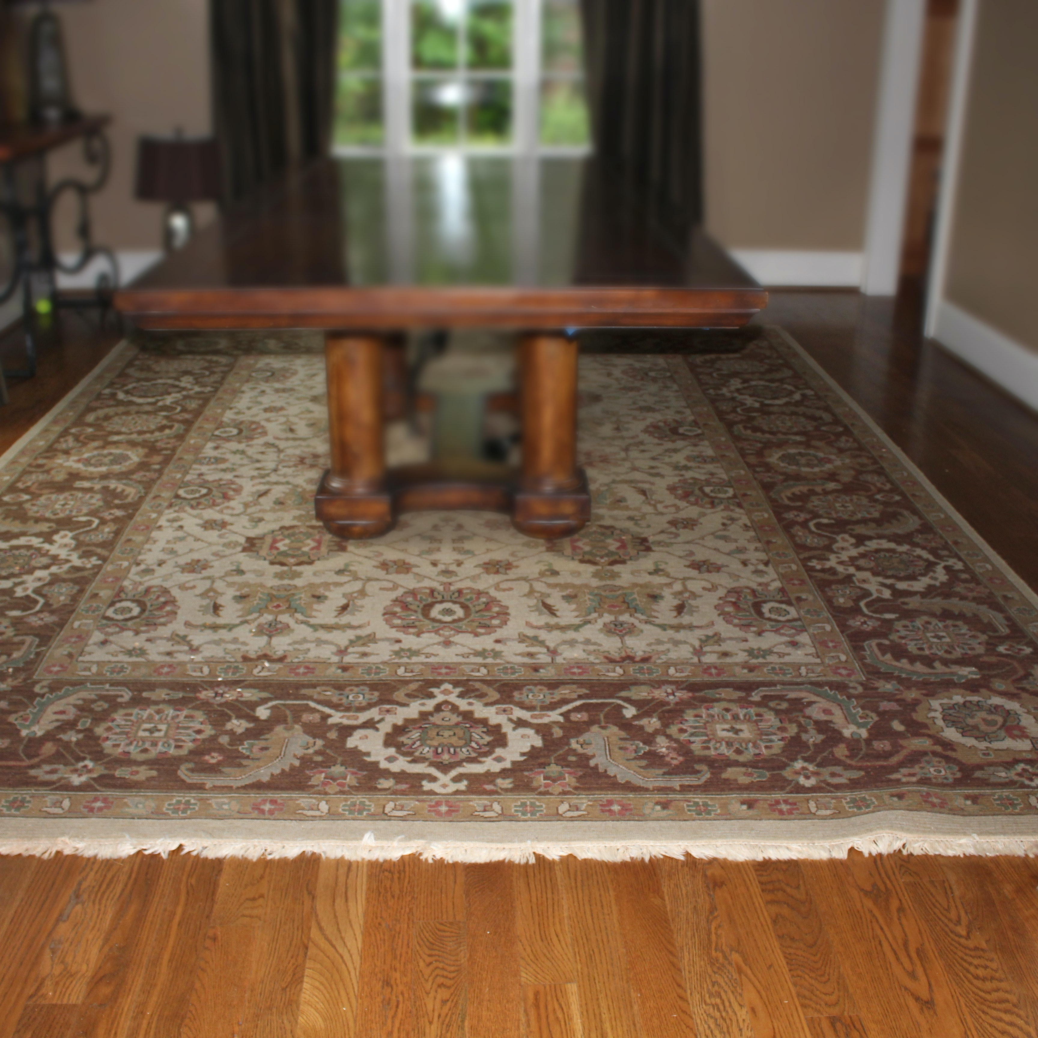 Large Hand-Knotted Indian Wool Area Rug