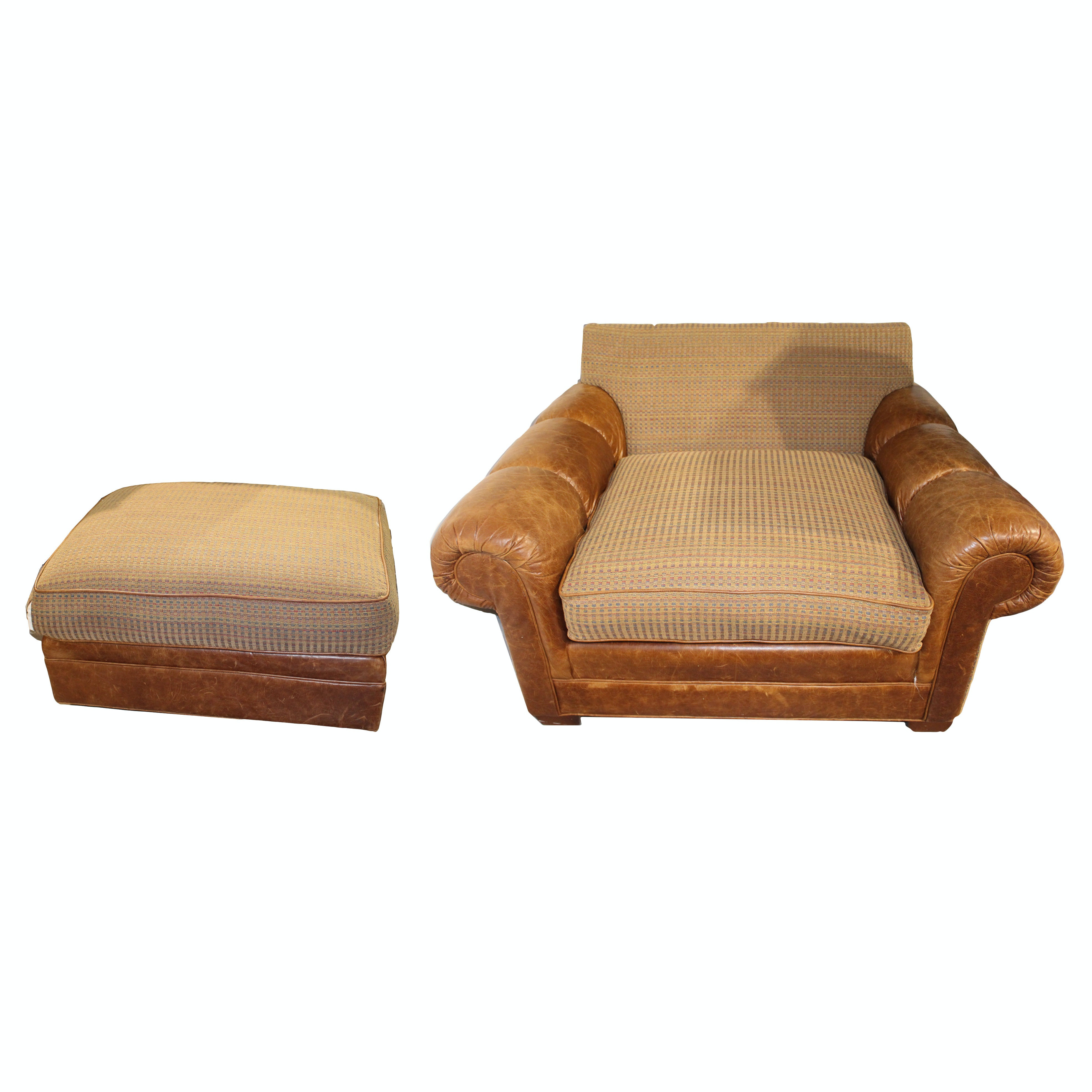 Leather Accent Chair and Ottoman by King Hickory