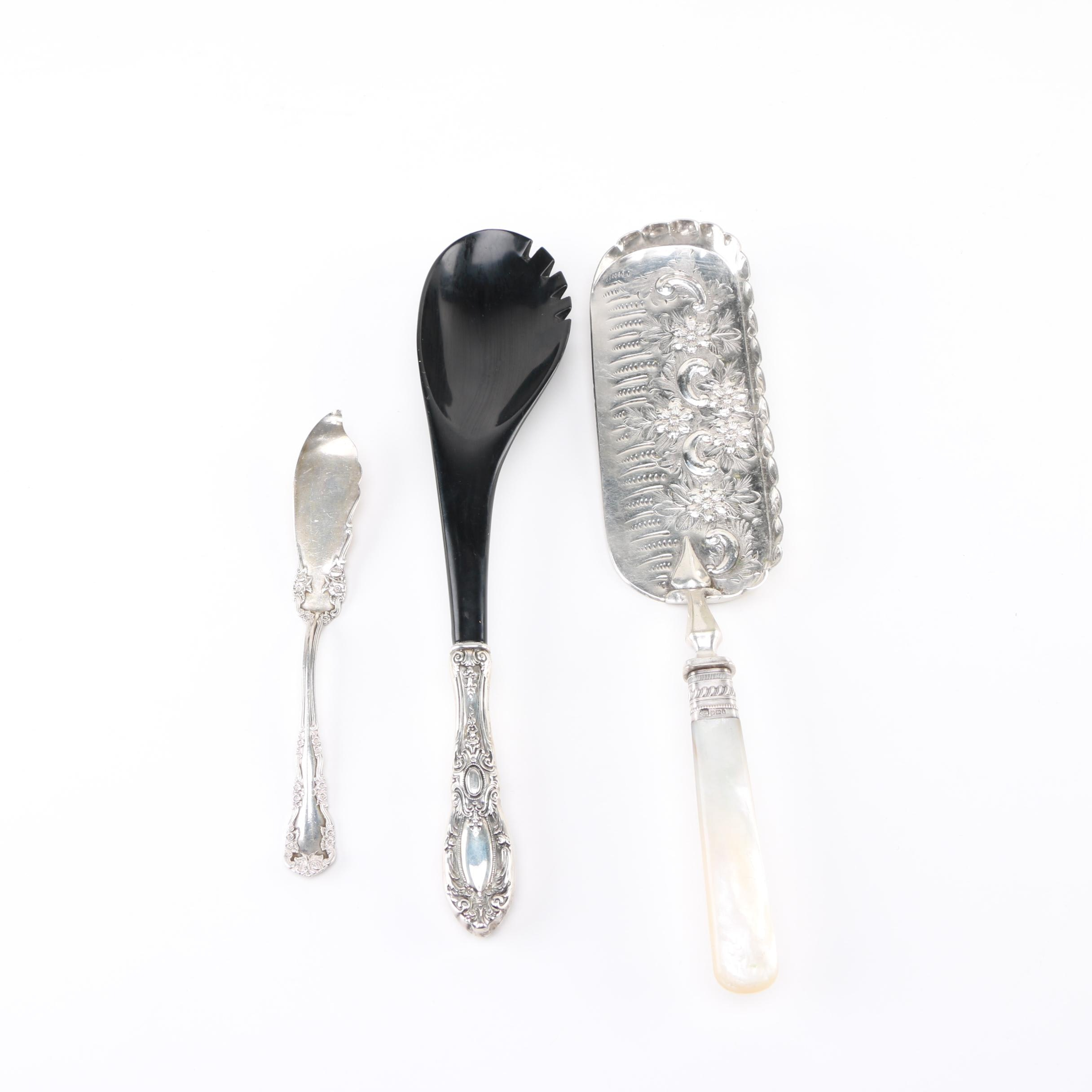 1903 Sheffield Sterling Silver Crumb Catcher and Other Sterling Utensils