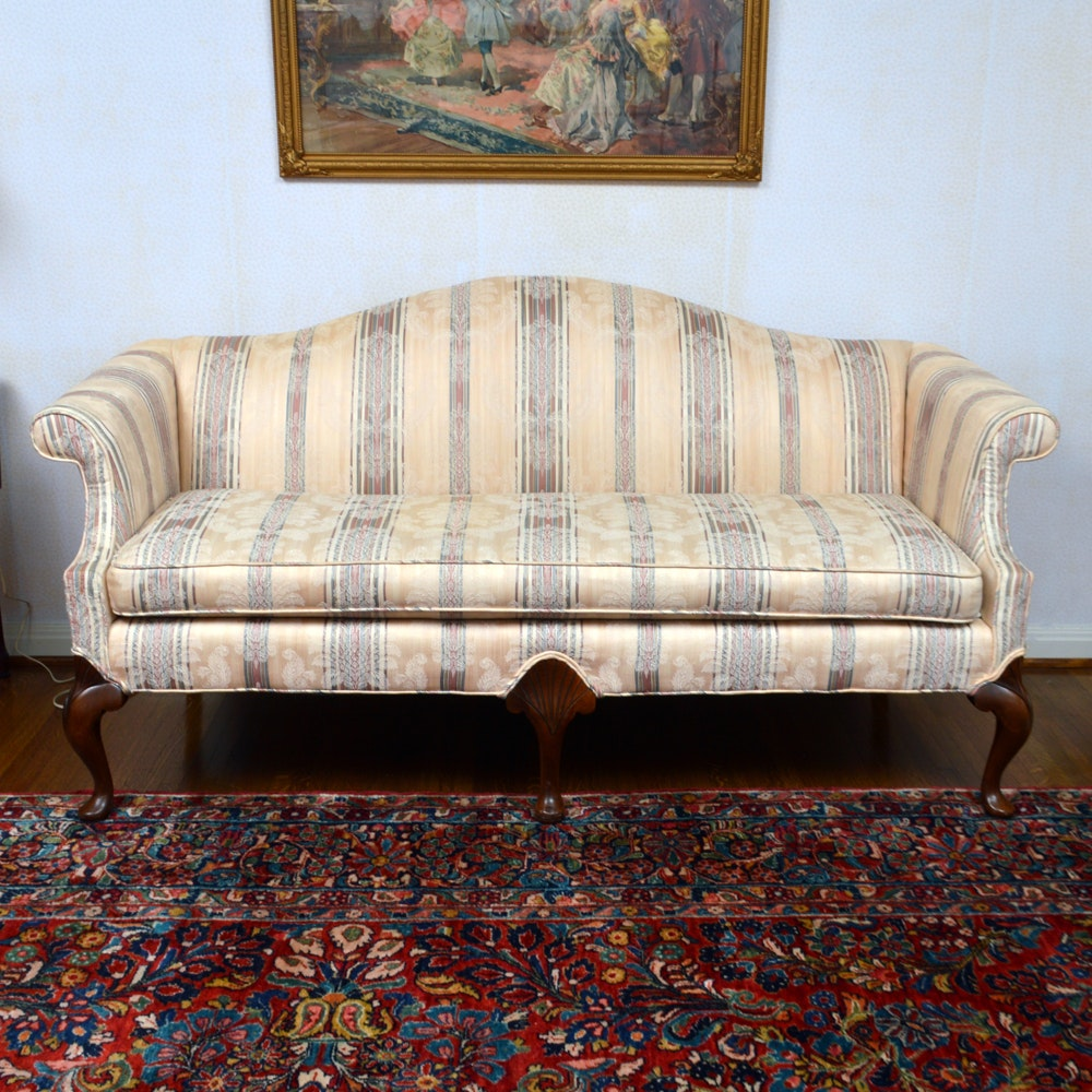 Queen Anne Style Upholstered Sofa