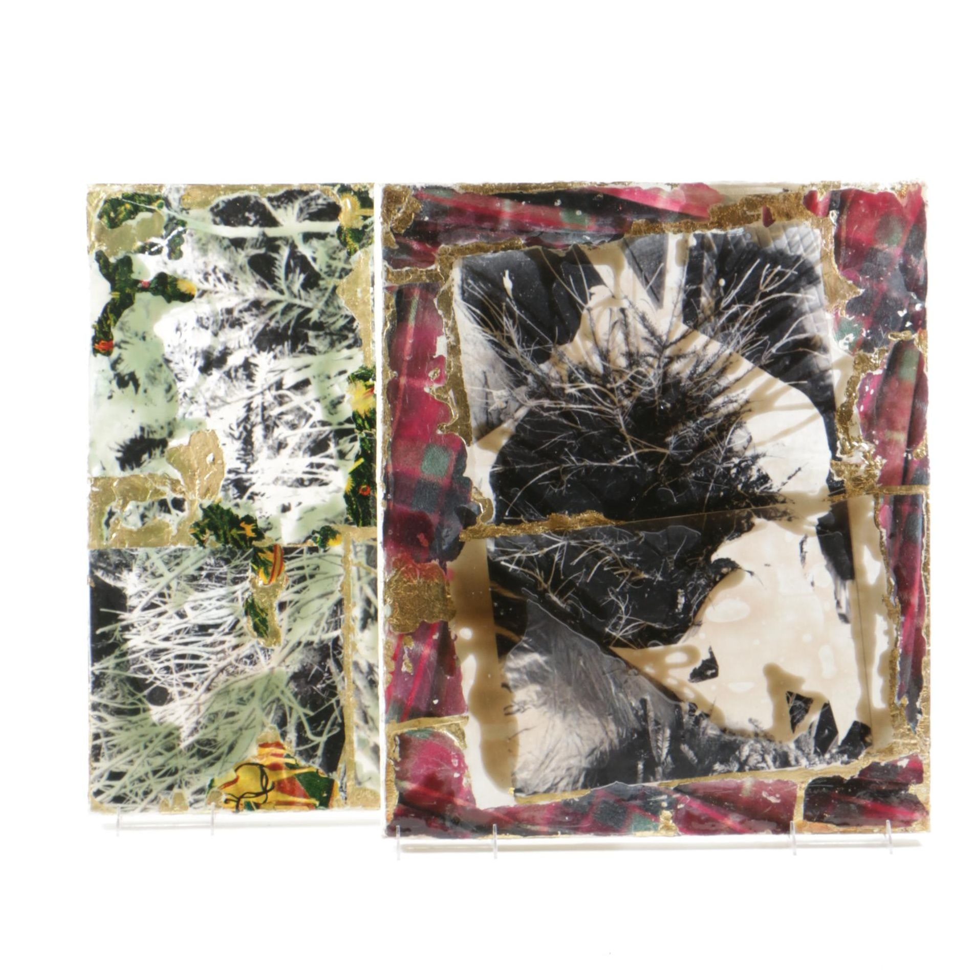 "Two Signed Mixed Media Collages on Canvas ""Dead Christmas Tree #1"" and ""Dead Christmas Tree #2"""