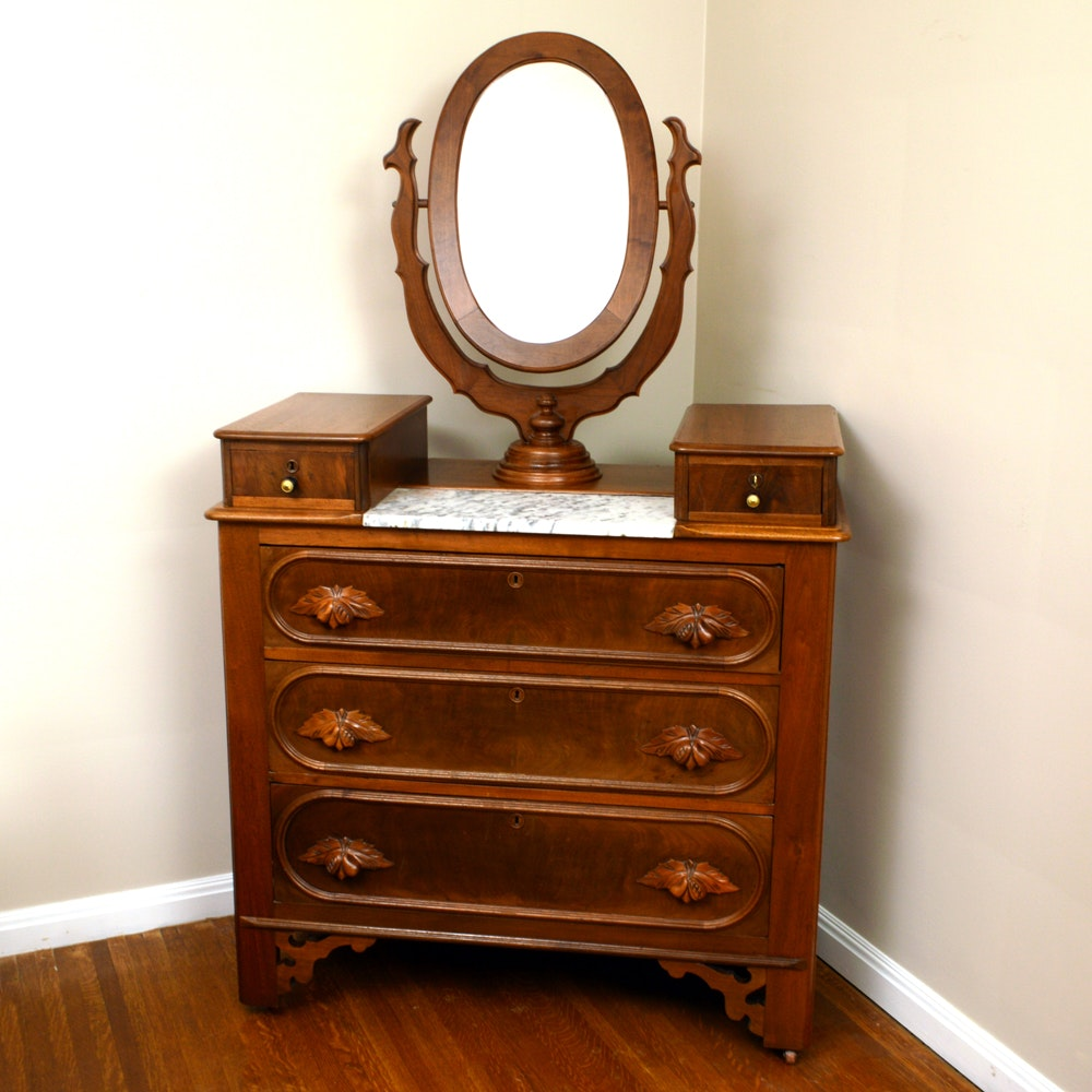 Antique Victorian Style Mahogany Dresser With Mirror