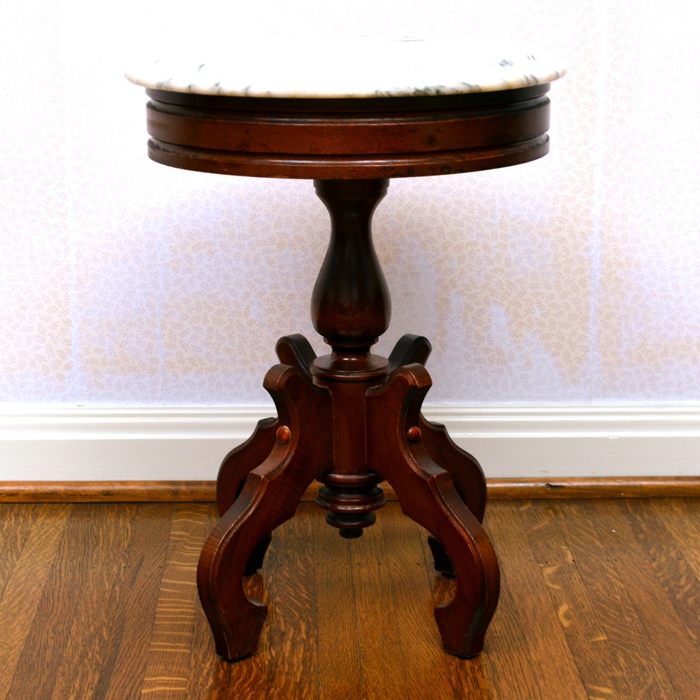 Victorian Eastlake Inspired Marble Top Accent Table