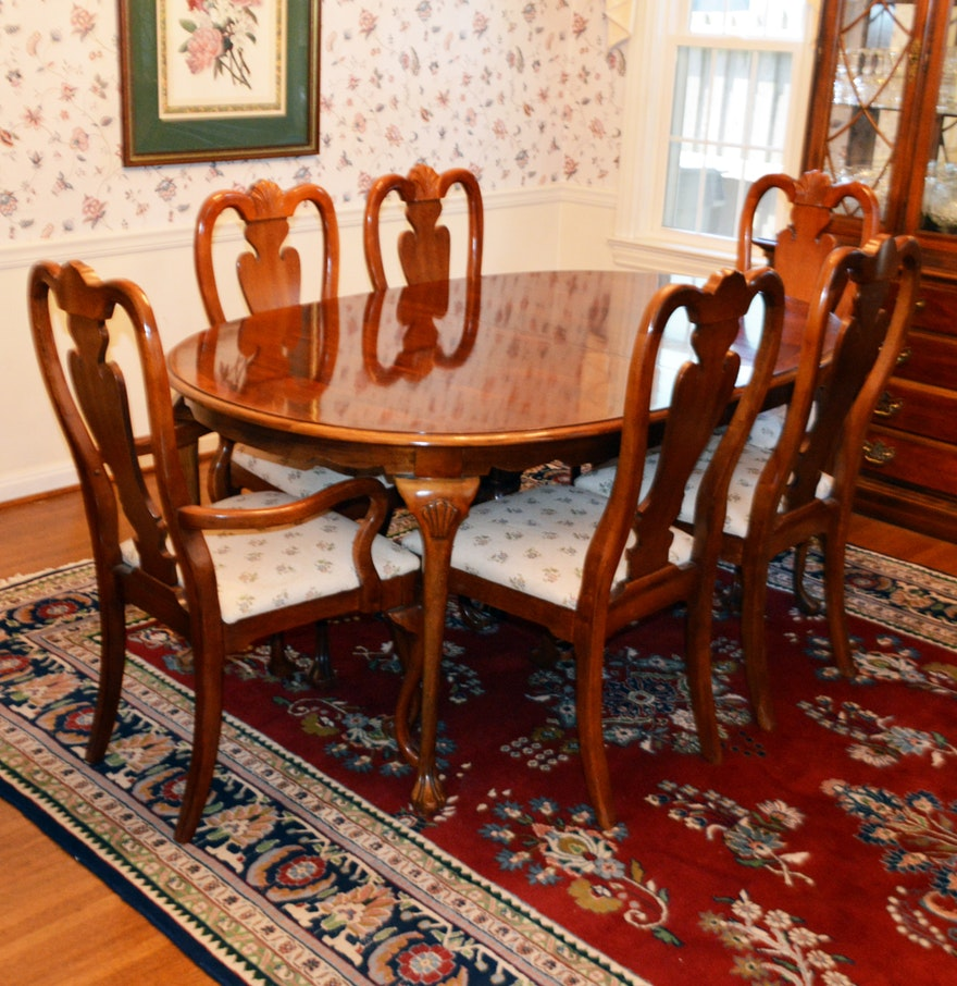 Queen Anne Style Mahogany Dining Table Amp Chairs By