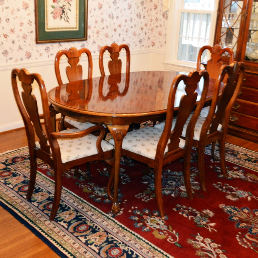 Queen Anne Style Mahogany Dining Table & Chairs by American Drew