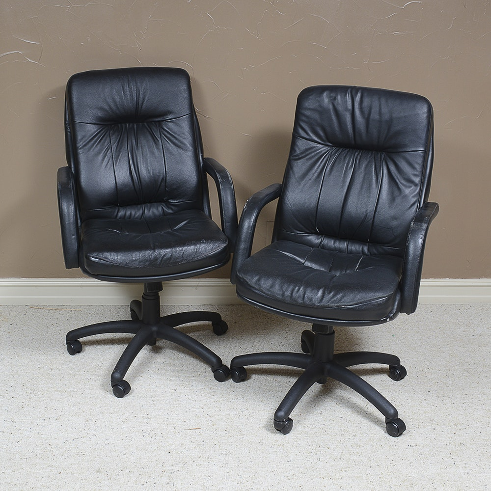 Two Bonded Leather Office Chairs By Global Upholstery Co Inc Ebth