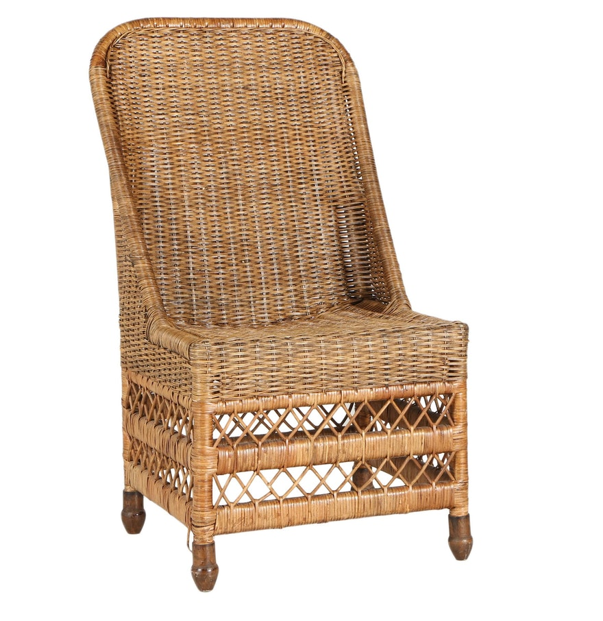wicker side chair ebth. Black Bedroom Furniture Sets. Home Design Ideas