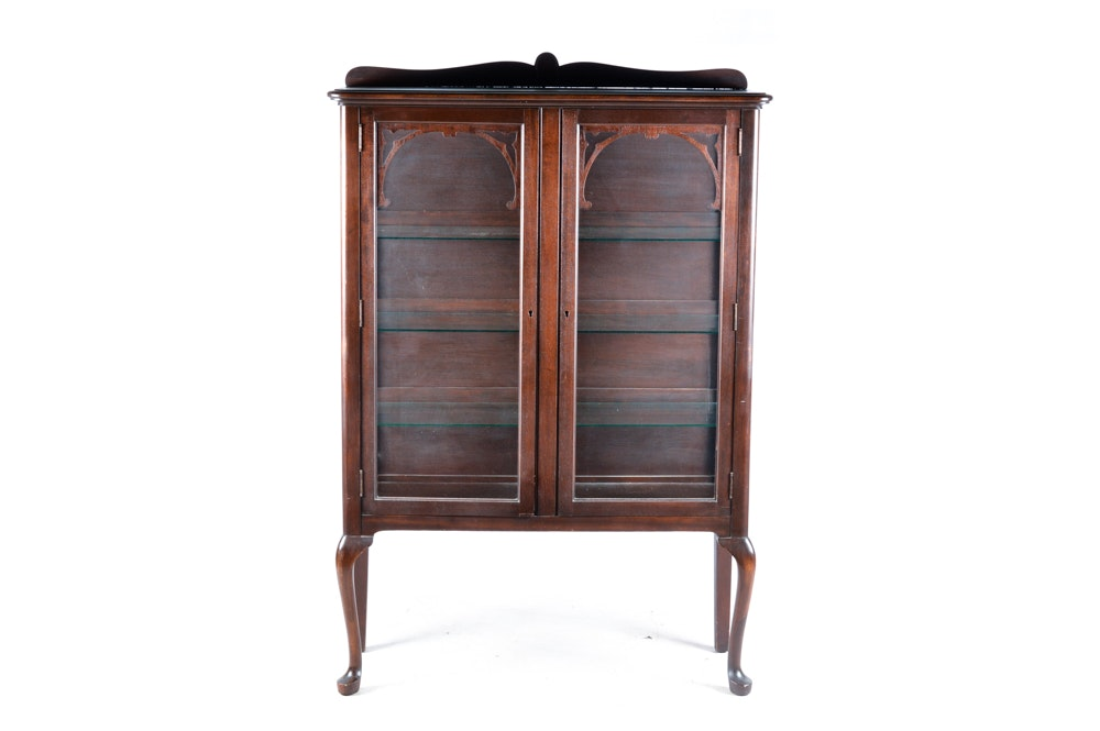 Queen Anne Style Mahogany Glass Front Display Cabinet