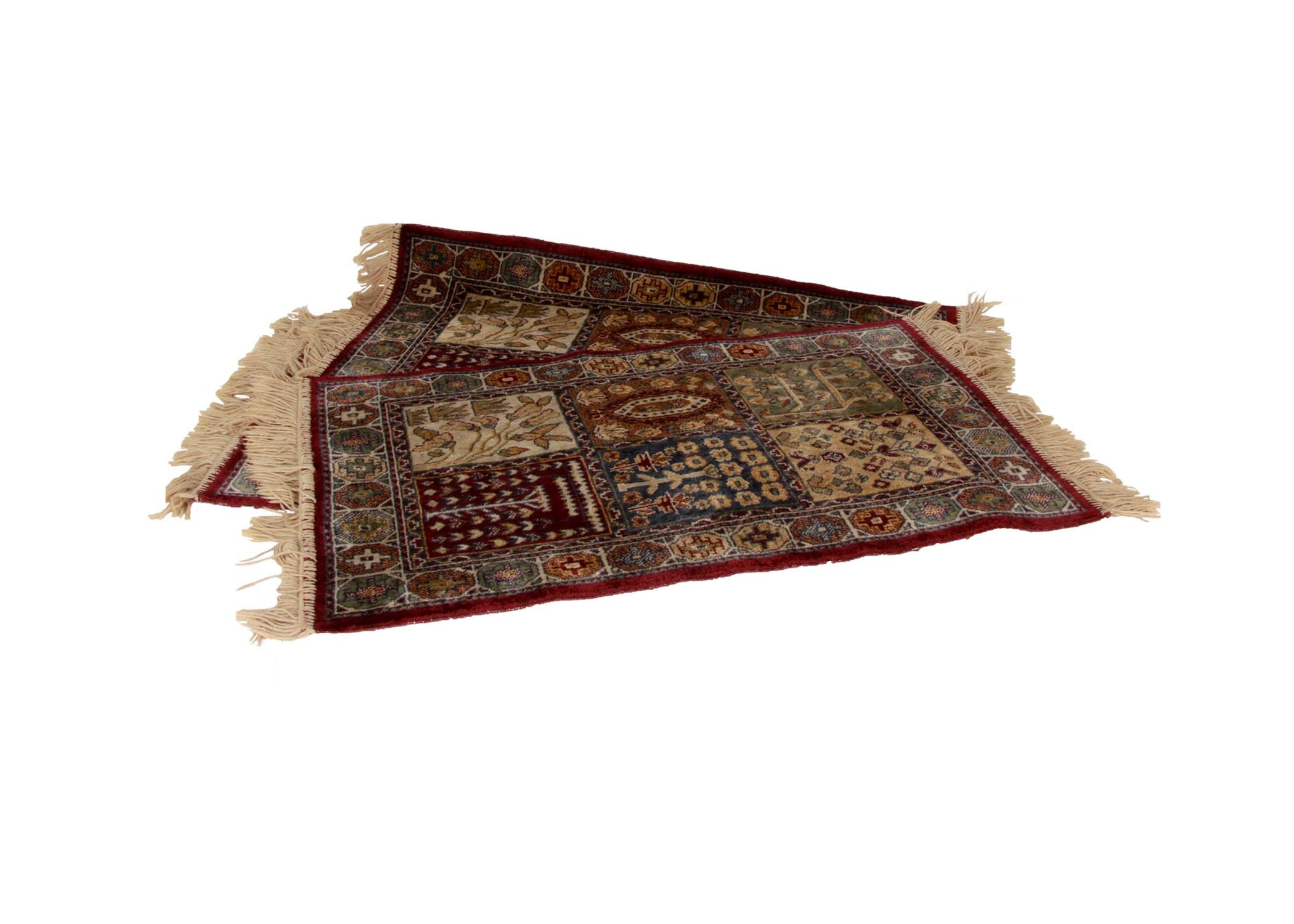 three small machine woven accent rugs