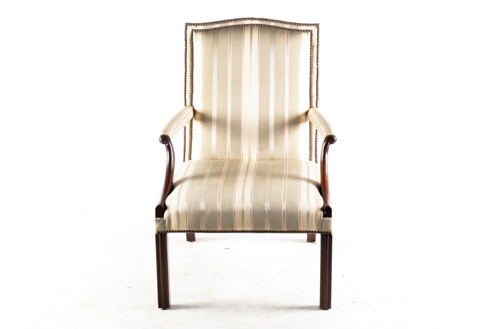 Mahogany Armchair With Striped Silk Upholstery