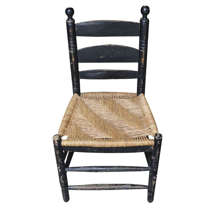 Antique Hand Hewn Chair With Rush Seat