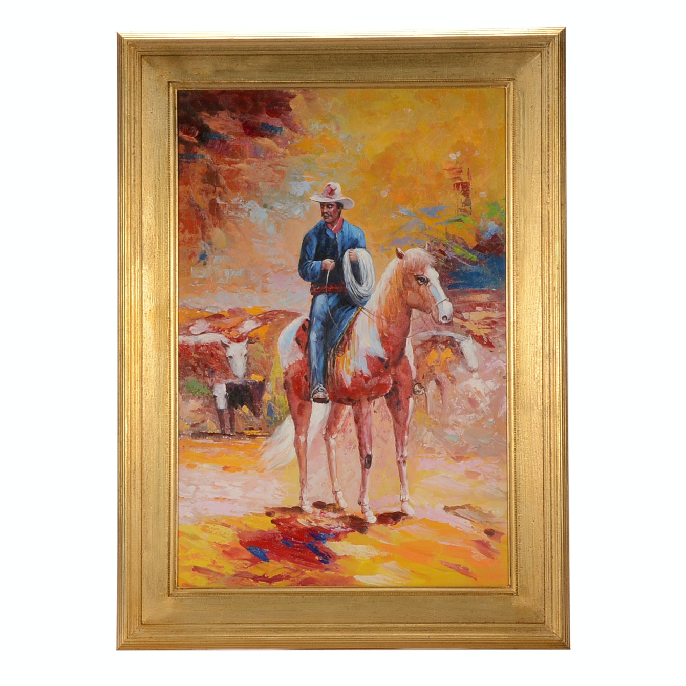 Original Acrylic on Canvas Painting of a Rancher