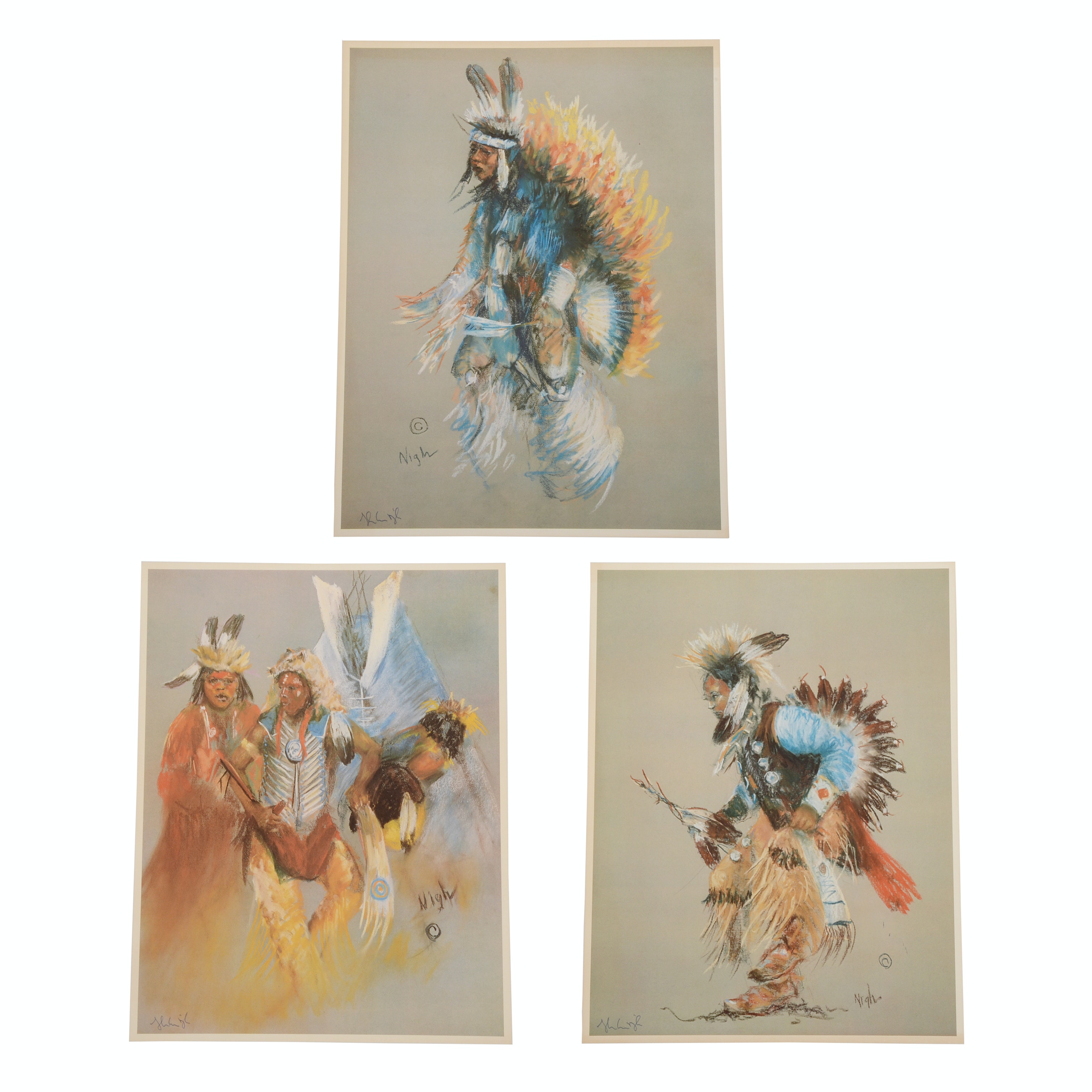 Three Nigh Signed Offset Lithographs of Native American Dancers
