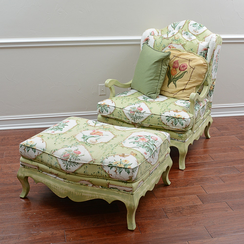 Bergere Chair With Ottoman By Wesley Hall Inc. ...
