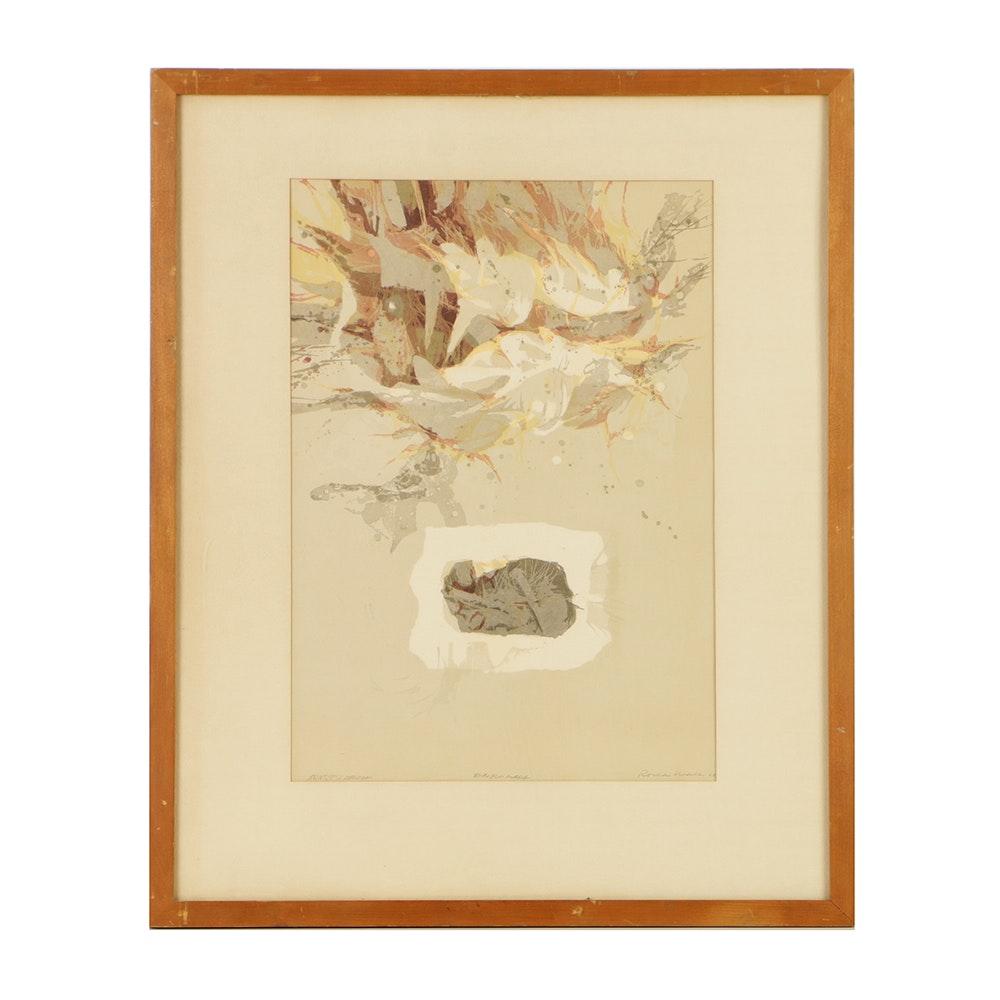 "Romas Viesulas Artist's Proof Lithograph on Paper ""Emplumada"""