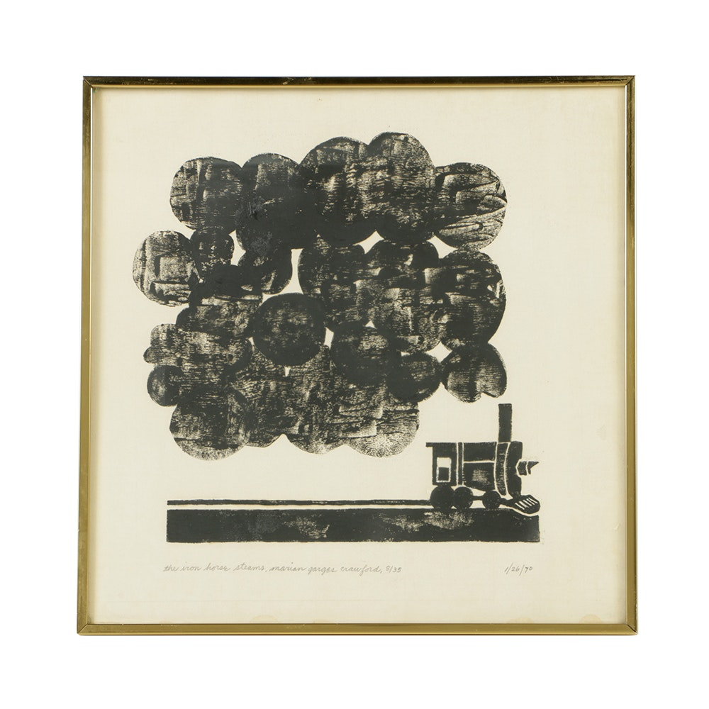"""Marian Garges Crawford Limited Edition Woodblock on Paper """"The Iron Horse Steams"""""""