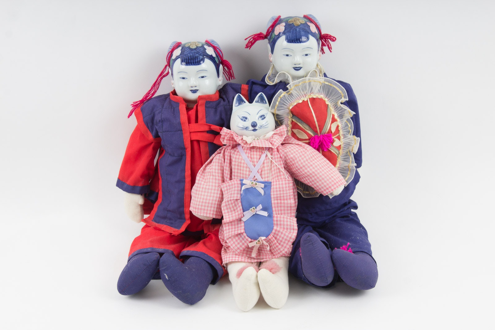 Chinese Dolls with Painted Porcelain Heads