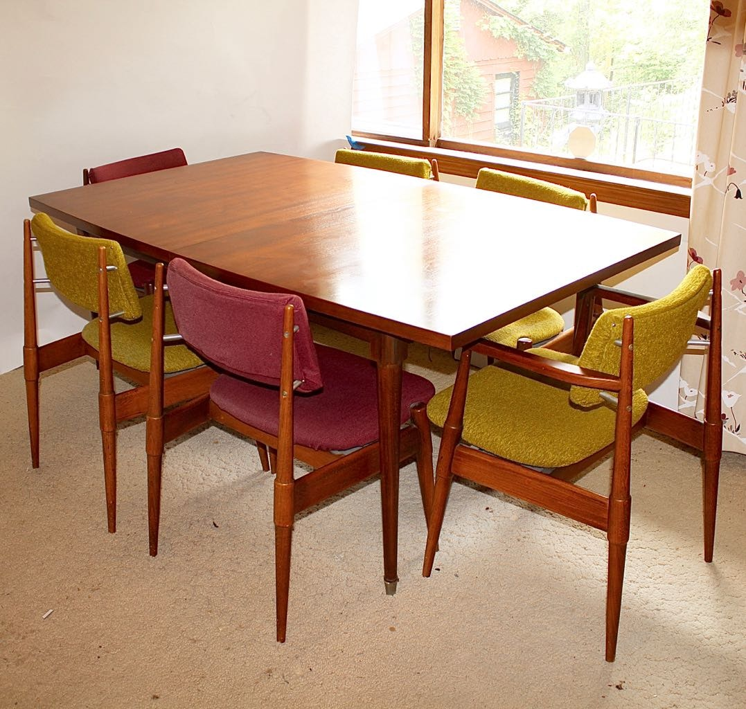 mid century modern dining table with six chairs ebth mid century modern dining table with six chairs