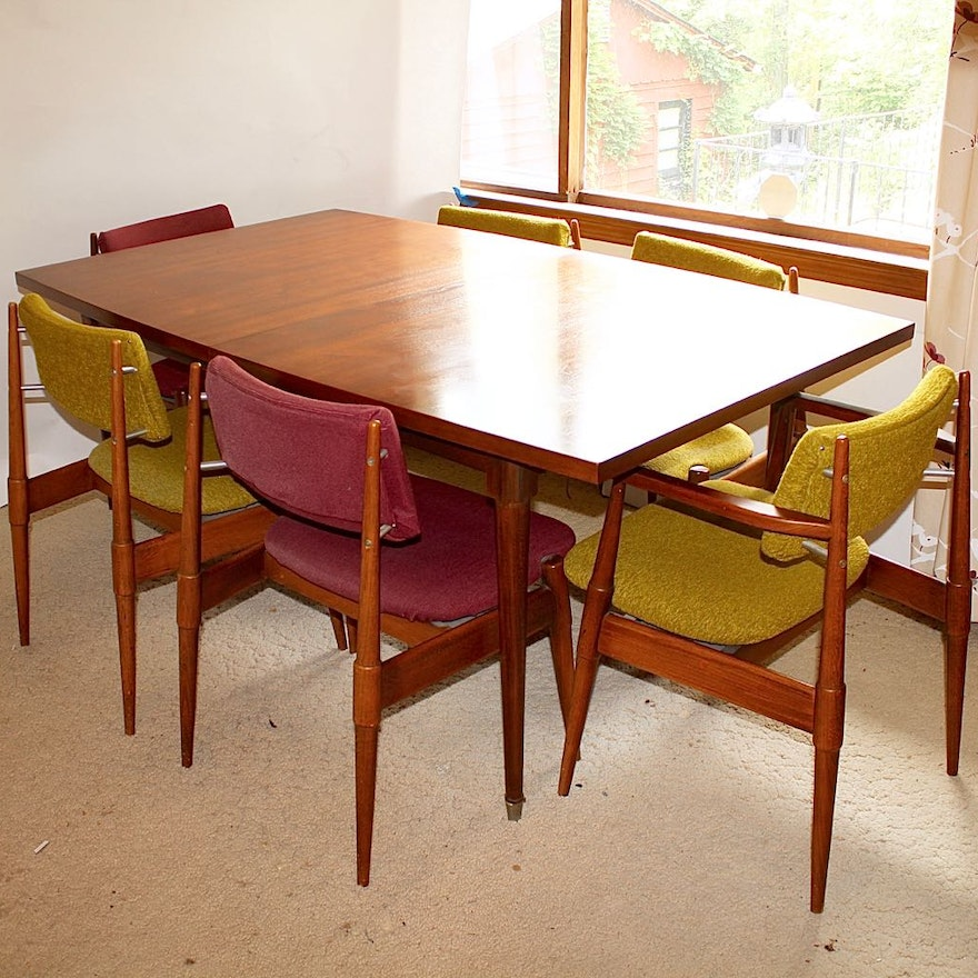 Mid Century Modern Dining Table With Six Chairs Ebth