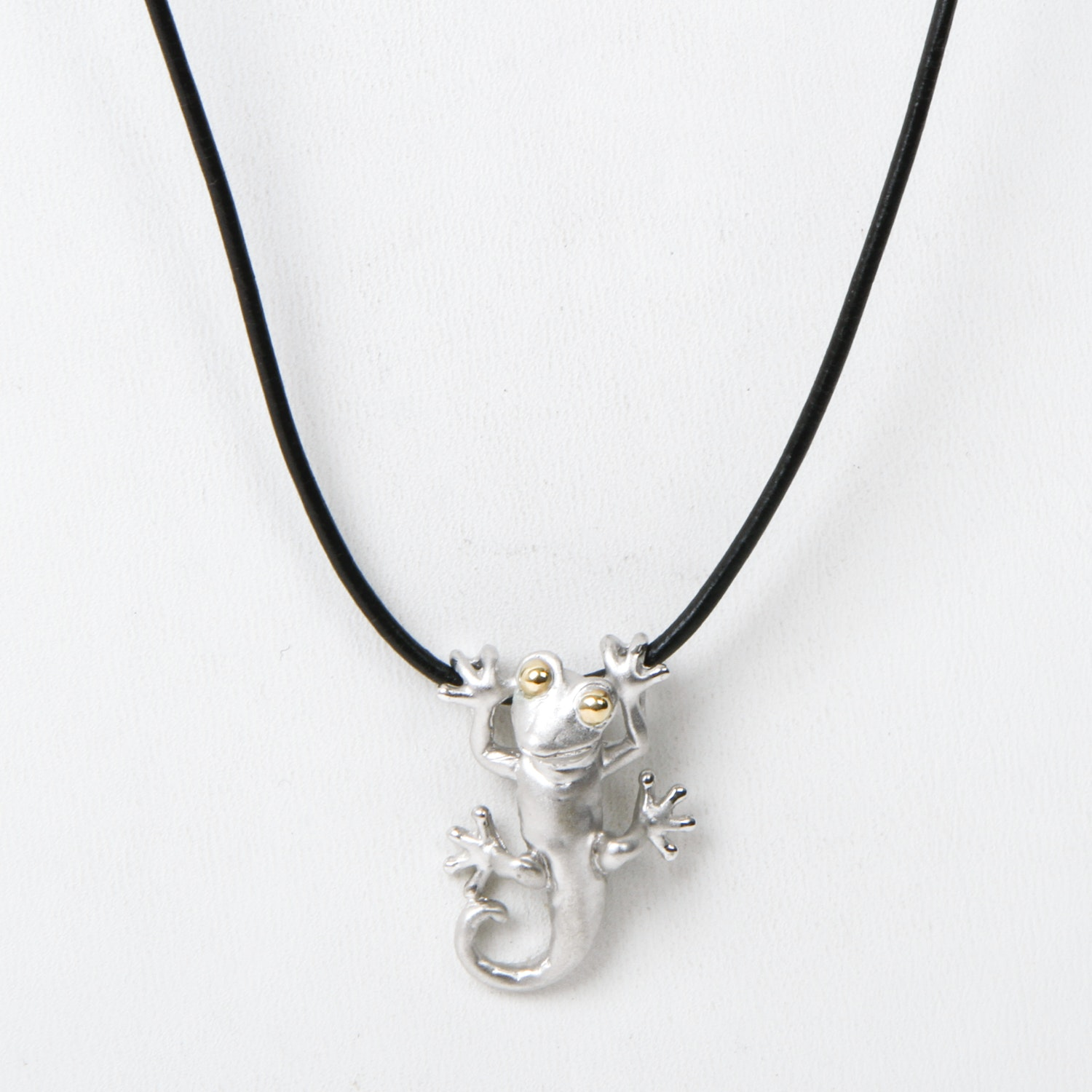 Sterling Silver and 14K Yellow Gold Gecko Pendant with Black Leather Chain