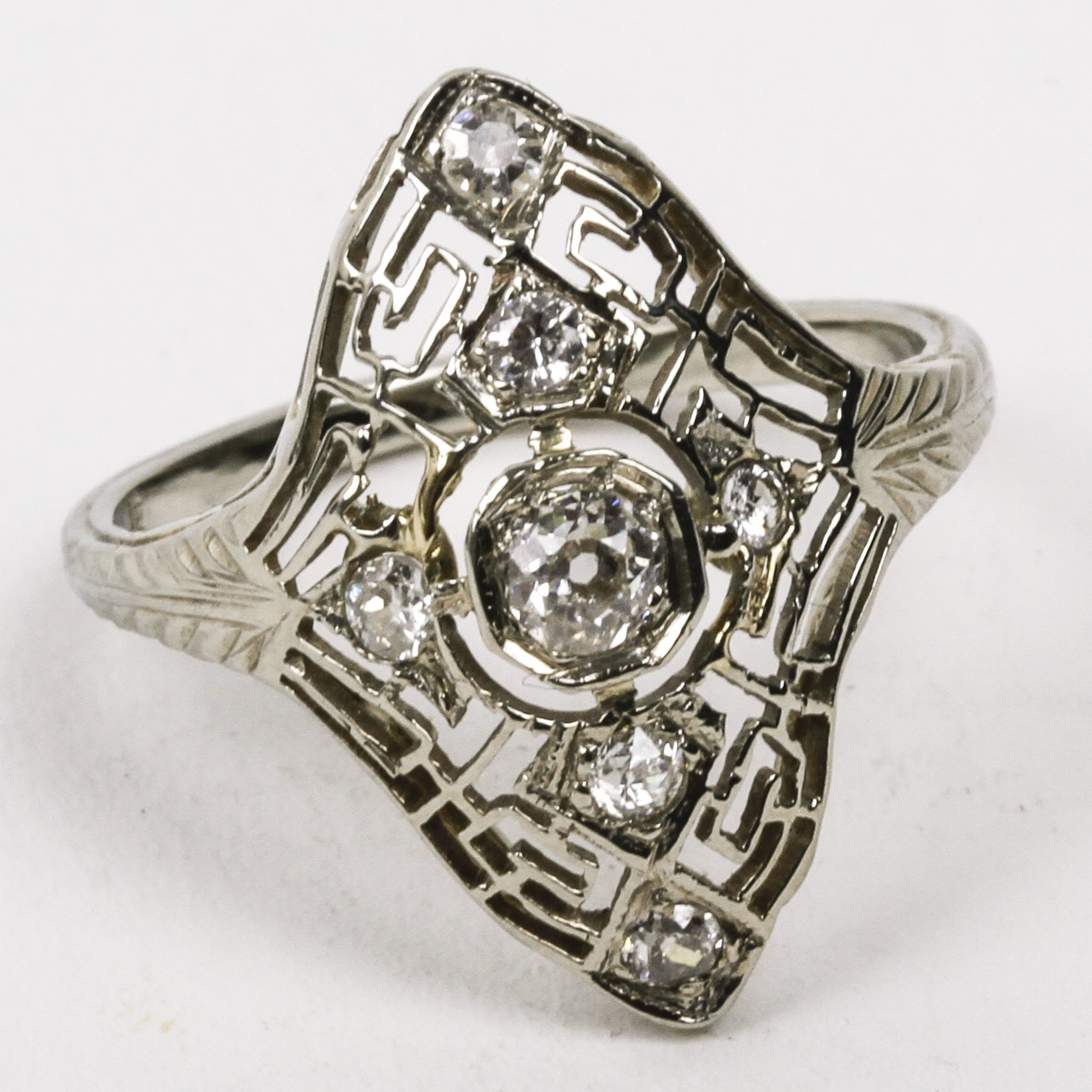Late Edwardian 18K White Gold and Diamond Navette Ring