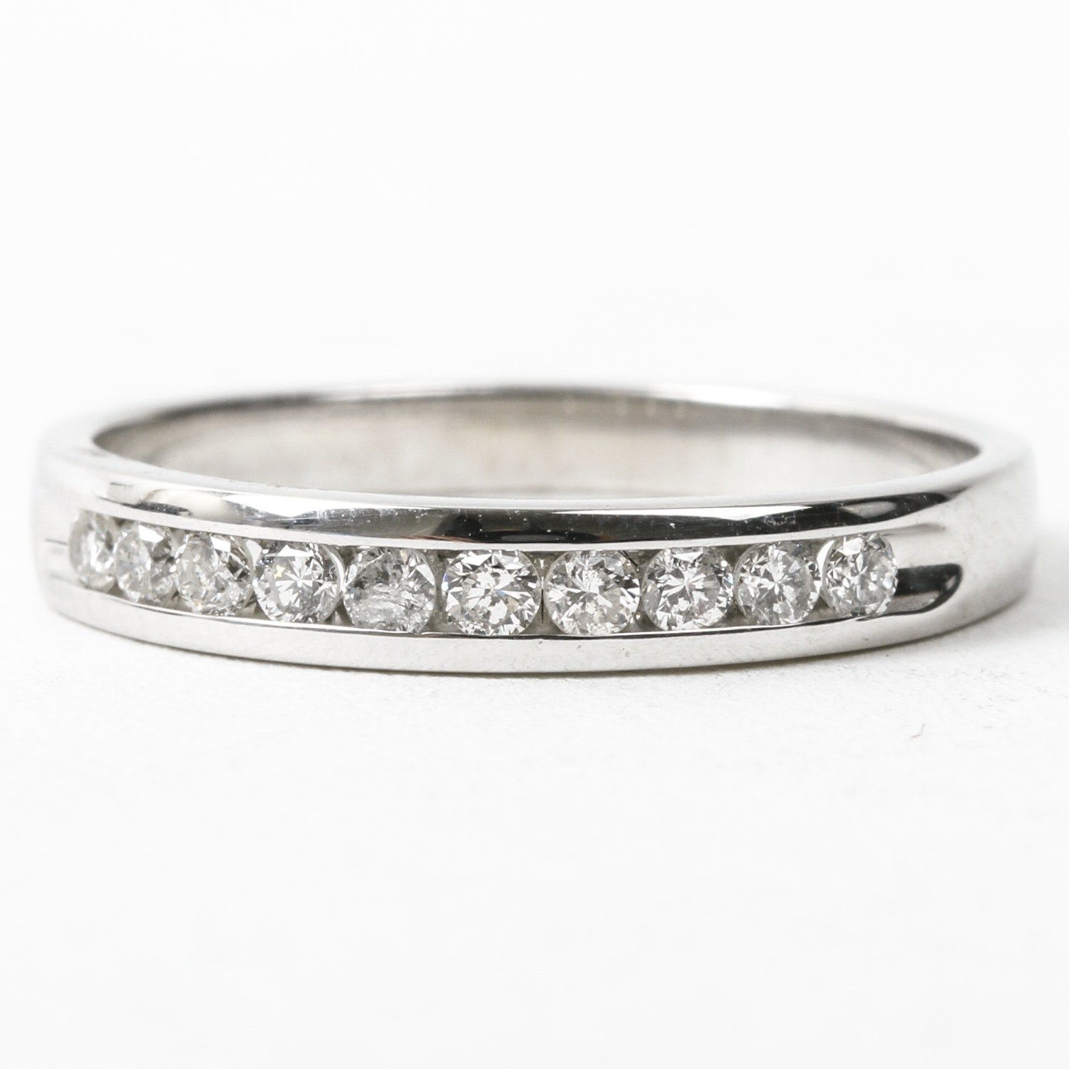14K White Gold and Channel Set Diamond Band